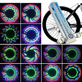 Bike Wheel Light Bicycle Spoke LED Lights Bright Cycling Bikes Bicycles Waterproof Outdoor Valve Flashing Night Light Safe Accessories (32 Pattern)