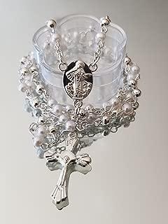 12 Pcs Baptism White Pearl Sliver Rosary necklace Favors For First Communion Recuerdos de para niñas niños