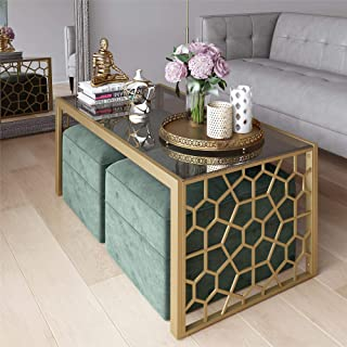 CosmoLiving Juliette Modern Tempered Glass Gold Frame Coffee Table with Two Seafoam Green Velvet Ottomans - Brass