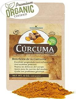 Curcuma Longa Certified Organic Powder from India- 100% Pure Organic - 8 Oz Resealable Pouch