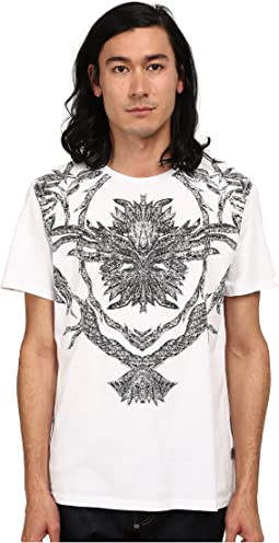 Short Sleeve Feather/Flame Graphic Slim Fit Tee
