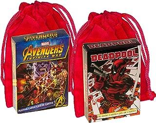 Marvel Deadpool Mirror and Avengers Infinity War Themed Playing Cards _ Bonus 2 RED Velveteen Drawstring Pouches _ Bundled Item