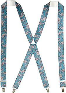 Buckle | 1922 Men's Fancy Blue Paisley 35mm Braces with Nickel Clips, Blue Paisley, One size