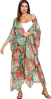SweatyRocks Women's Flowy Kimono Cardigan Open Front Maxi Dress