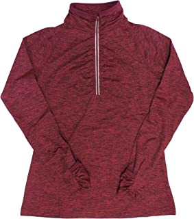Kirkland Signature Women's Active1/4 Zip Ruffled Pullover (Small, Red)