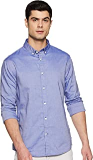 Celio Mens Button Down Collar Slub Shirt