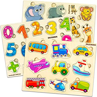 Quokka Wooden Puzzles for Toddlers 1 2 3 Year Olds | 3 Pack | Kids and Babies Matching Game for Learning Numbers Vehicles Animals | Educational Wood Preschool Toys for Boys and Girls Ages 1-3