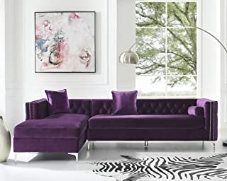 Giovanni Velvet Left Facing Chaise Sectional w/Storage, Purple 115