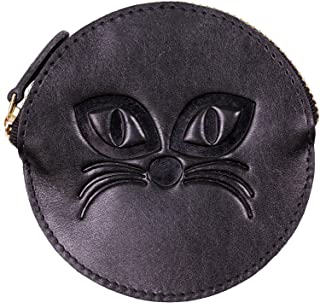 プラスエイチ(Plus H) 小銭入れ 丸型 猫 ネコ エンボス加工 牛革 PH8229