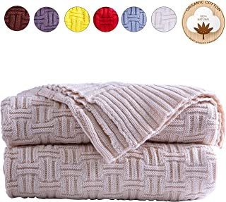 AGOOL Throw Blanket Cable Knit Cotton 50 x 70 Inch Soft Cozy Lightweight Machine Washable Home Decorative All Seasons Suitable for Couch Sofa Bed Chair Office