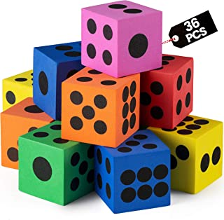 Foam Dice Set - Bulk Pack of 36, 1.5 Inch Large Assorted Colorful Foam Dice Cubes with Number Dots, Use for Kids, Classroo...