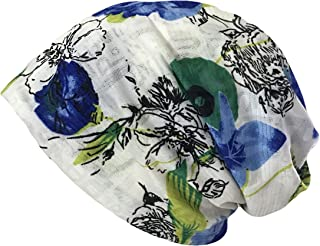 Qiabao Women's Floral Printed Chemo Cap Hat Slouchy Beanie
