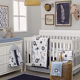 NoJo Dreamer Mosaic Animals 8 Piece Nursery Crib Bedding Set, Navy/Light Blue/White,