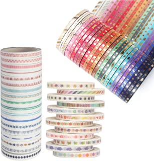 GOTONE 54 Rolls Washi Tape Set, Foil Gold Thin Decorative Masking Washi Tapes,3MM & 5MM Wide DIY Paper Tape for DIY Craft ...