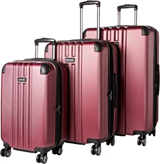 """Kenneth Cole Reaction Reverb Hardside 8-Wheel 3-Piece Spinner Luggage Set: 20"""" Carry-on, 25"""", 29"""", Raspberry"""