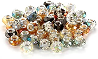 BRCbeads Top Quality 50Pcs Mix Silver Plate FACETED STYLE3 AB COLOR Murano Lampwork European Glass Crystal Charms Beads Spacers Fit Troll Chamilia Carlo Biagi Zable Snake Chain Charm Bracelets.