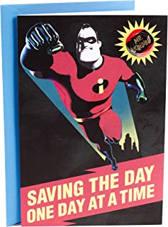 Hallmark Father's Day Card for Dad from All (Disney Pixar Mr. Incredible Removable Button)