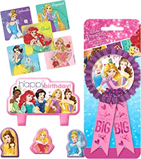 Amscan Princess Birthday Cake Candle Set & Birthday Party Confetti Filled Ribbon for Guest of Honor! Plus Disney Princess Party Favor Stickers!