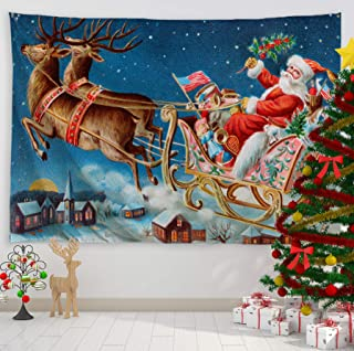 Baccessor Christmas Tapestry Xmas Santa Claus Sled Deer Tapestries Holiday Tapestry Wall Hanging,Christmas Decor - 90