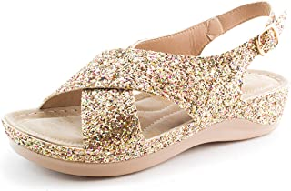 generation19 Forever Womens Two Buckle Sparkle Gittler Sandals (Adults)