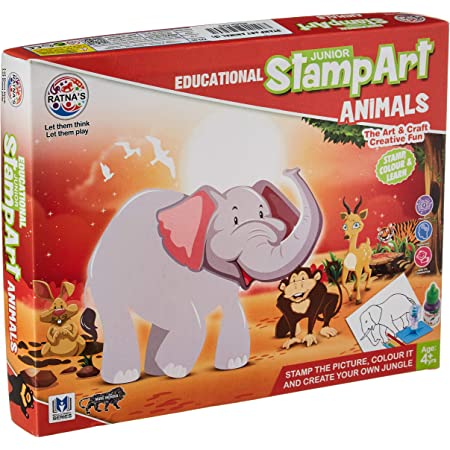 Ratna's Educational Art & Craft Stamp Art Animal Small with 6 Different Animal Stamps for Kids Ages 3+