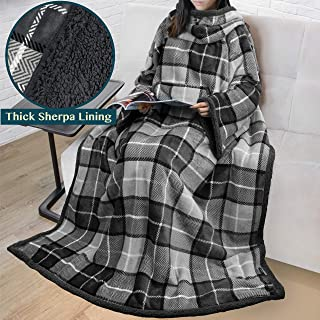 PAVILIA Premium Sherpa Fleece Blanket with Sleeves for Adult Women, Men | Cozy, Warm, Super Soft, Plush Wearable Throw for Couch, Sofa | Lightweight Microfiber Plaid Design (Charcoal)