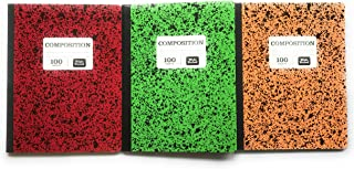 Pen+Gear Wide Ruled Composition Book 3 Pack - Red, Green, Orange