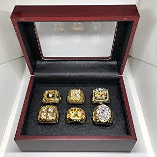 Set of 6 Pittsburgh Steelers Super Bowl (IX, X, XIII, XIV, XL, XLIII) Championship Replica Ring W/Box-Various Sizes Gold Color Collectible 1974,1975, 1978, 1979, 2005, 2008