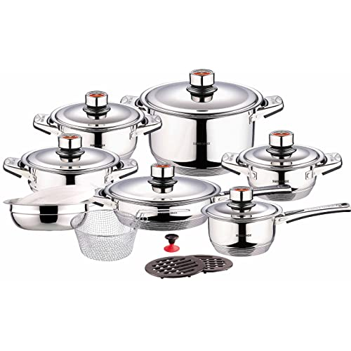 Swiss Inox Si-7000 18-Piece Stainless Steel Cookware Set, Includes Induction Compatible