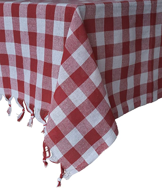 Tablecloth Checkered Buffalo Check Plaid Linen Cotton Picnic Blanket Table Cover Mantel Red And White 55 X 55