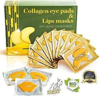Eye Mask - Lip Mask - Eye Pads - Dry Eye Mask - Gel Eye Mask - Eye Gel Pads - 10 Pairs Gel Eye Pads + 3 Collagen Lips Mask - 24K Gold Under Eye Mask - for Dark Circles Puffy Eyes Wrinkles and Dry Lips