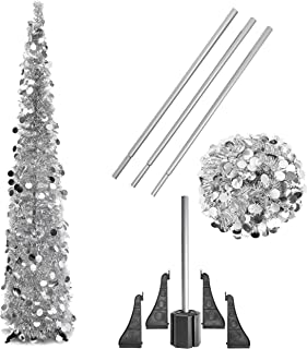 Bright Creations Tinsel Christmas Pencil Tree, 5 Feet, Silver