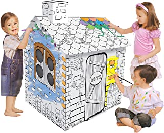 Huang Cheng Toys DIY Children Coloring Drawing Doodle House Hand-Drawn Art Toy Customizable Easy Play House for Kid 2