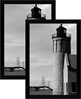 12x18 Black Gallery Picture Frame - Two Frames - Wide Molding - Includes Attached Hanging Hardware and Plexiglass Front - Display Pictures 12 x 18 Inch Photos Vertically or Horizontally (2 Pack)