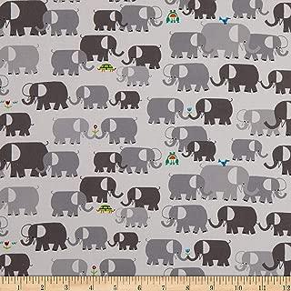 Cloud 9 Fabrics Organic Ed Emberley Favorites Elephants White/Gray