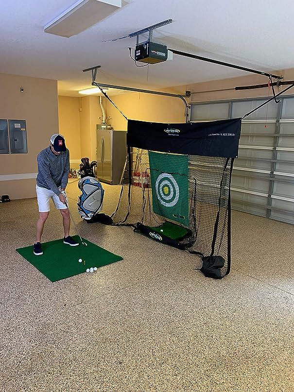 道に迷いました言うまでもなくアフリカ人Hitzem ゴルフ練習用ネット ヒッティングマット付き ガレージドア用