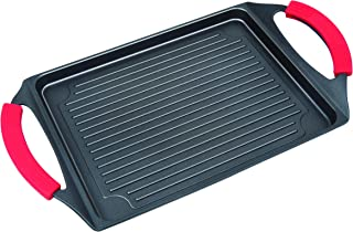 "MasterPan Non-Stick Cast Aluminum Burner Grill Pan with Silicone Grips, 17"", Black, Nonstick Cookware,"