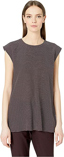 d76b10ffe421b2 Eileen Fisher Silk Georgette Crepe Round Neck Tunic with Side Slits ...