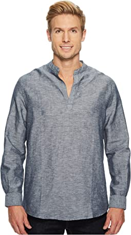 Long-Sleeve Solid Linen Cotton Popover Shirt