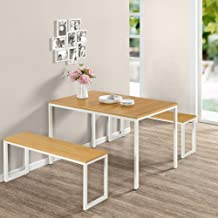 Zinus Louis Modern Studio Soho White Dining Table Set with Two Benches | 3 Pieces Dining Set | Easy Assembly Industrial Di...