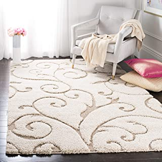 Safavieh Florida Shag Collection SG455-1113 Scrolling Vine Cream and Beige Graceful Swirl Square Area Rug (6'7