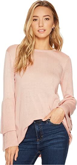 kensie - Soft Sweater with Ruffle Sleeve KSNK57S7