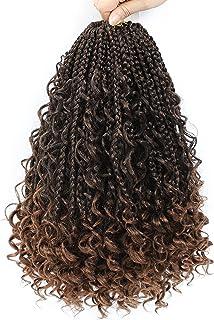 14inch Goddess Box Braids Crochet Hair Crochet Box Braids Curly Ends 3X Bohemian Crochet Box Braids Hair Synthetic Croche...
