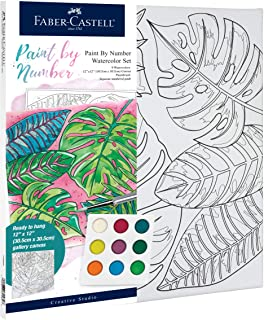 Faber-Castell Paint by Number Tropical Watercolor - Number Painting for Adults - Easy Paint by Number Arts and Crafts