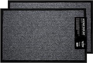 """2-Pack Indoor Outdoor Floor Mats for Entryway, 17"""" x 29.5"""" All Weather Door Mats for High Traffic Areas, Grey & Black Floor Mats with Shoe Scraper, Entrance Door Mat with Rubber Backing"""