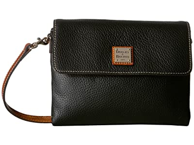 Dooney & Bourke Pebble Hunter Crossbody (Black/Tan Trim) Cross Body Handbags