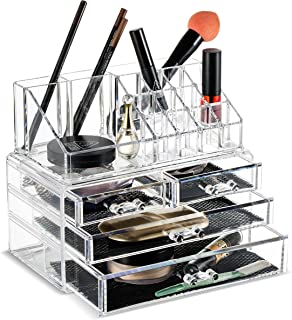 Felicite Home Makeup Cosmetic Organizer Conceal/Lipstick/Eyeshadow/Brushes in One place Storage Drawers, Clear, Medium,NEWEST EDITION UPGRADED BOTTOM DRAWER SIZE , 2 Piece Set