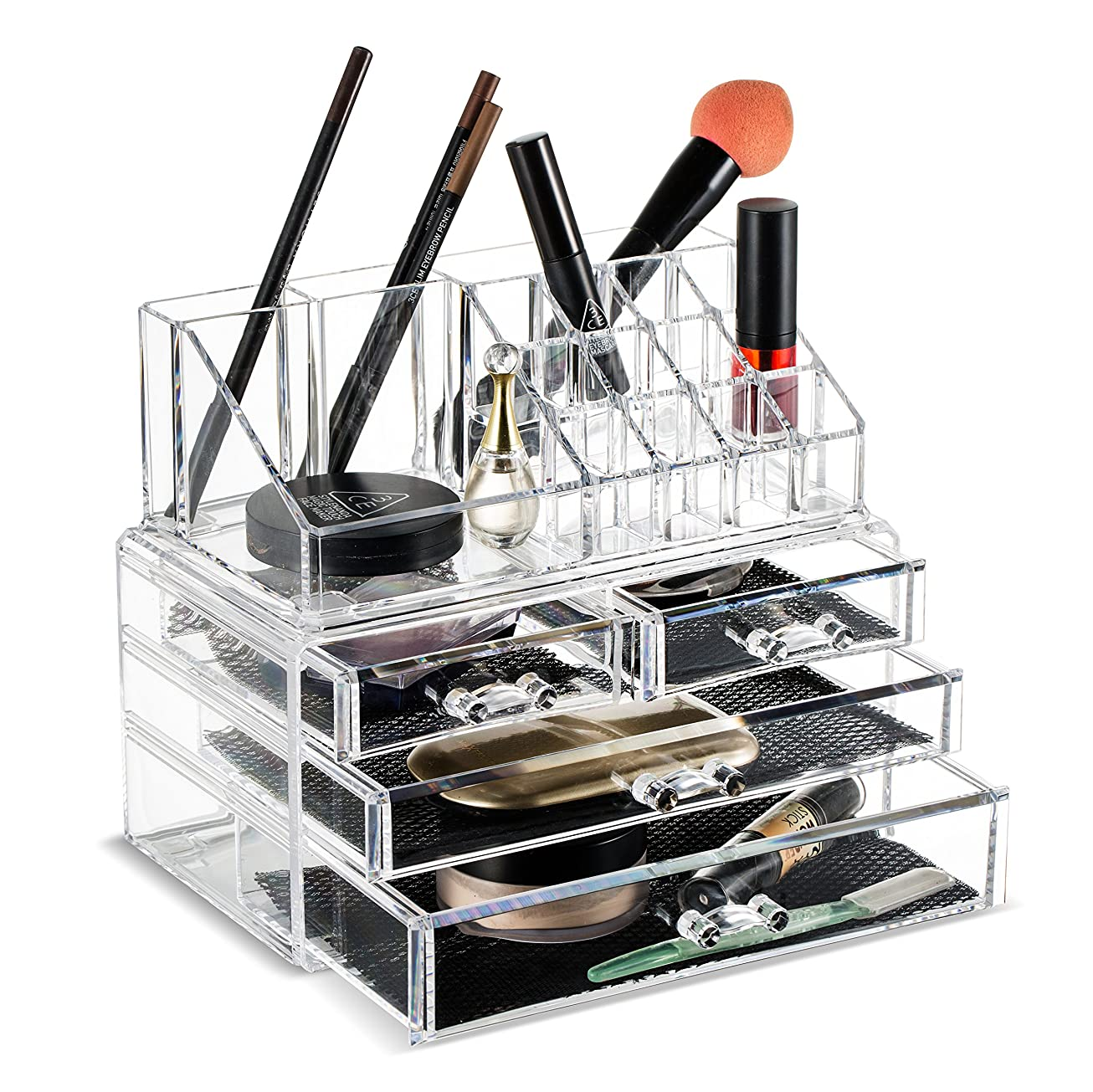 民兵重大アサー(2 Pieces Set) - Felicite Home Makeup Cosmetic Organiser Conceal/Lipstick/Eyeshadow/Brushes in One place Storage Drawers, Clear, Medium,NEWEST EDITION UPGRADED BOTTOM DRAWER SIZE, 2 Piece Set