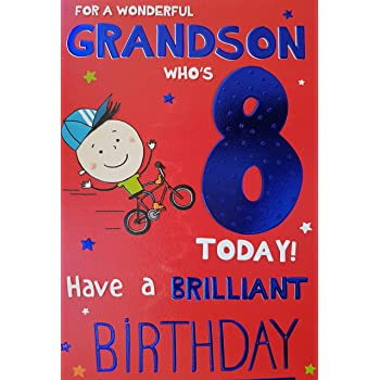 Badge Card Age 8th Birthday Card For A Special Grandson You Are 8 Today