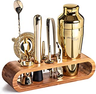 Mixology Bartender Kit: 10-Piece Gold Bar Set Cocktail Shaker Set with Stylish Bamboo Stand   Perfect Home Bartending Kit ...